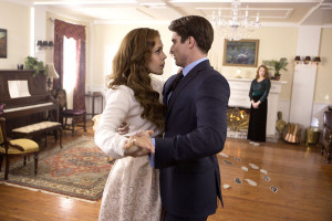 WHEN CALLS THE HEART - HEART'S DESIRE Abigail travels to Hamilton to stay with Elizabeth's family and is compelled to accept Bill Avery's help on a personal matter. A heroic act by Jack brings him closer to his ex-fiancée, Rosemary. Elizabeth returns to Hope Valley, she and Jack come together to consider what the future holds. Photo: Erin Krakow, Marcus Rosner Credit: Copyright 2015 Crown Media United States, LLC/Photographer: Eike Schroter