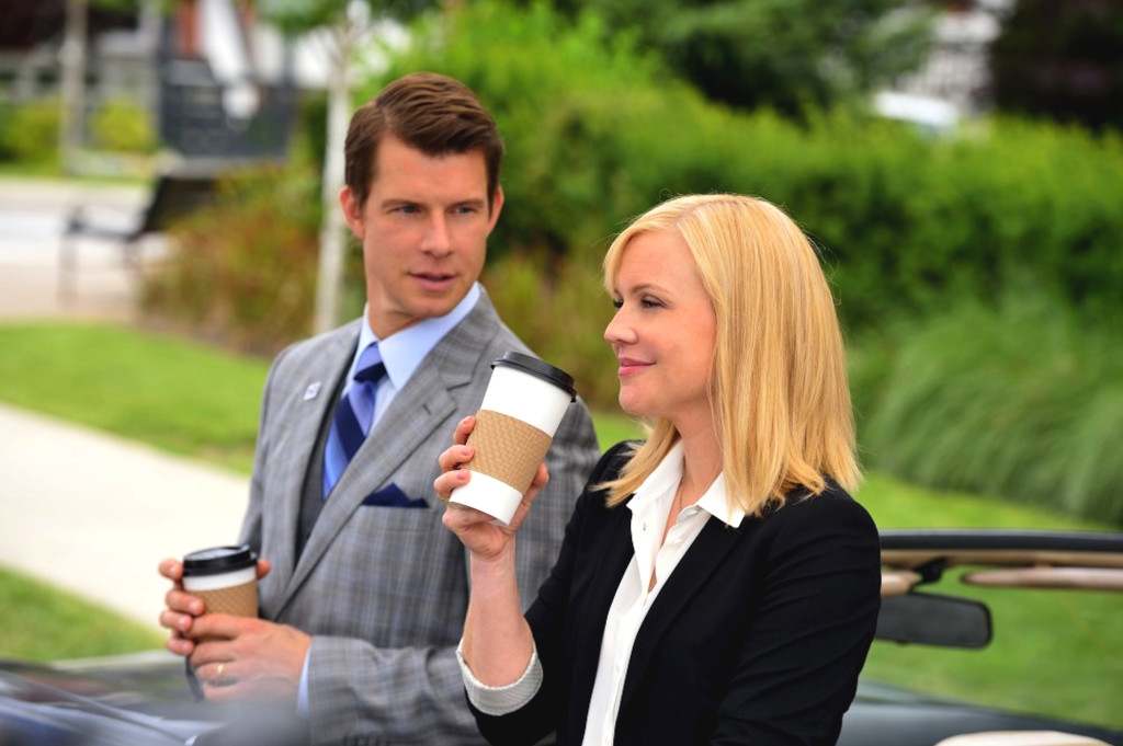 """Signed, Sealed, Delivered"" tells the inspiring story of a group of postal detectives whose mission is to deliver letters and packages from the past, which arrive miraculously when they are needed most.  Photo: Eric Mabius, Kristin Booth"