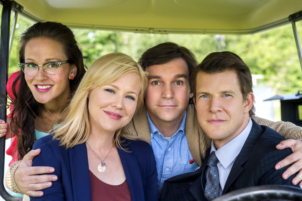 """Signed, Sealed, Delivered"" tells the inspiring story of a group of postal detectives whose mission is to deliver letters and packages from the past, which arrive miraculously when they are needed most.  Photo: Crystal Lowe, Kristin Booth, Geoff Gustafson, Eric Mabius,"