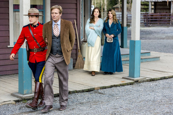 WHEN CALLS THE HEART - WITH ALL MY HEART Elizabeth and Jack face a life-threatening experience together and finally discover the truth about what has been keeping them apart. Later, all of Hope Valley witnesses a shocking arrest and an unexpected proposal. Photo: (L to R) Daniel Lissing, Jack Wagner, Erin Krakow, Lori Loughlin Photo Credit: Copyright 2013 Crown Media United States, LLC/Photographer: Eike Schroter