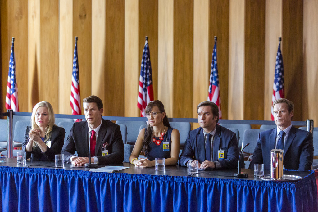 Photo: Kristin Booth, Eric Mabius, Crystal Lowe, Geoff Gustafson, Mark Valley Credit: Copyright 2015 Crown Media United States LLC/Photographer: Bettina Strauss
