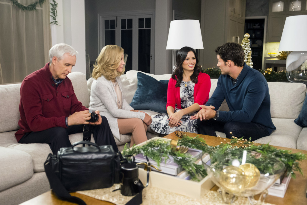 An aspiring artist is hired as a Christmas gift buyer for a high- powered business man with whom she falls in love. Photo: Ben Lokey, Donna Mills, Katrina Law, Aaron O'Connell Credit: Copyright 2015 Crown Media United States, LLC/Photographer: Fred Hayes