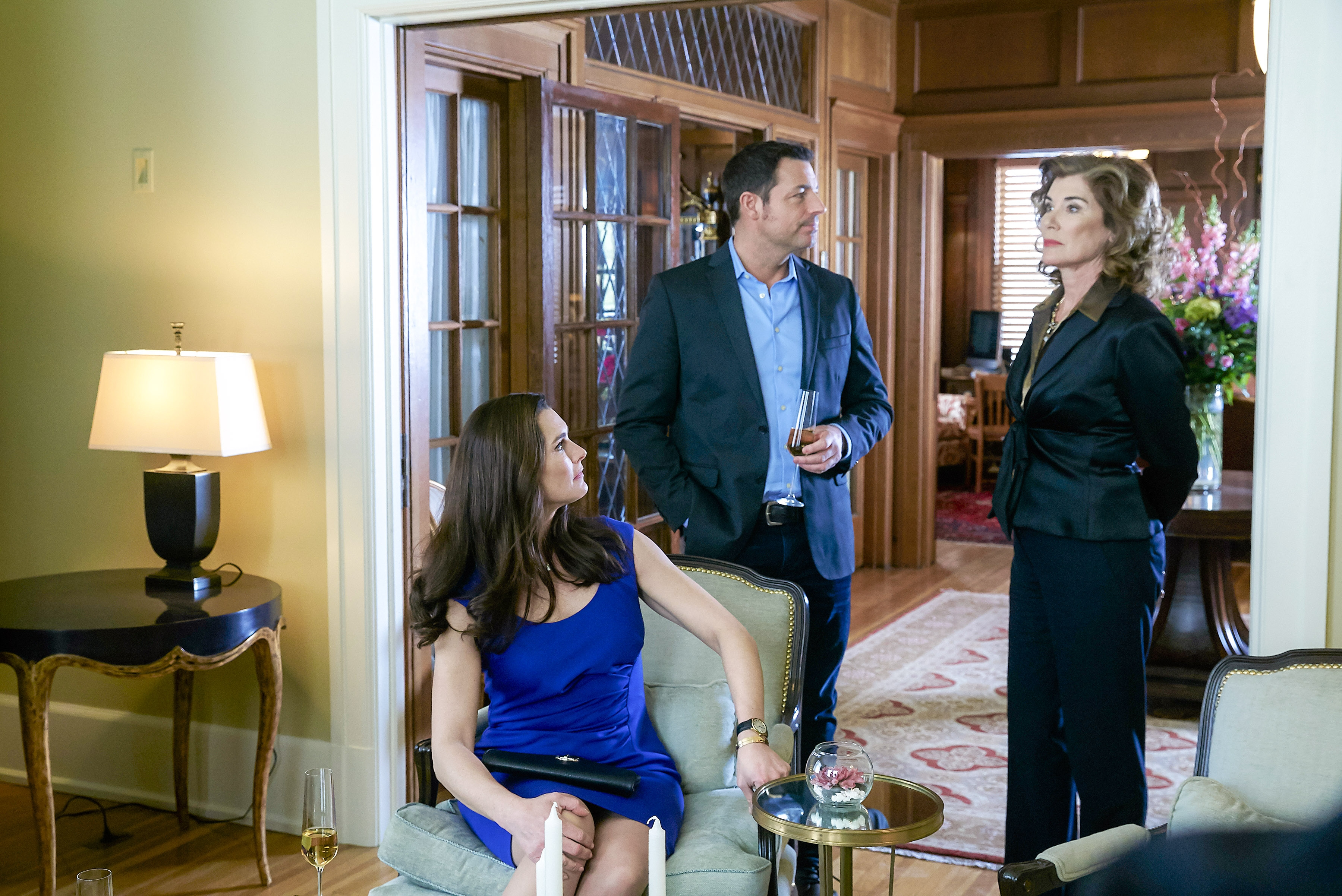 Photo: Brooke Shields, Brennan Elliott, Sonja Smits Credit: Copyright 2016 Crown Media United States LLC/Photographer: Shane Mahood