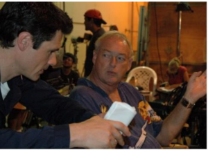 "Discussing a scene on the set of ""USS Poseidon: Phantom Below"" with director/producer Brian Trenchard-Smith."