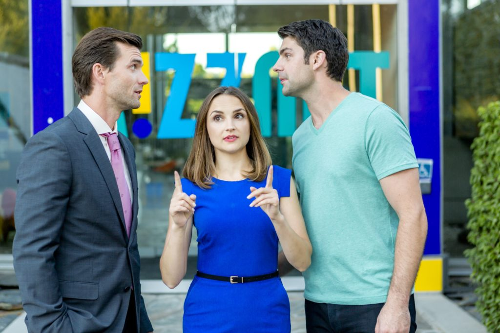 Lucas Bryant, Rachael Leigh Cook, Travis Milne, Credit: Copyright 2016 Crown Media United States LLC/Photographer: Ryan Plummer