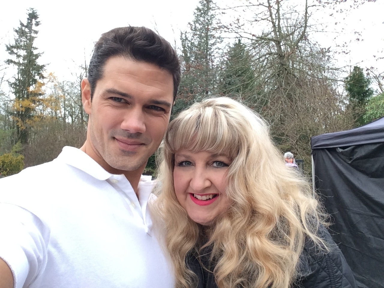with Ryan Paevey on the set of Unleashing Mr. Darcy