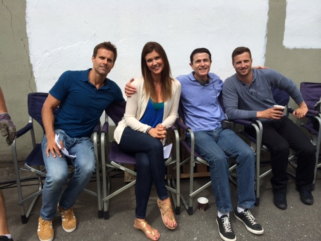 on the set of Along Came a Nanny (left to right: cast members Cameron Mathison, Sarah Lancaster--to left of me--then Brendan Penny)