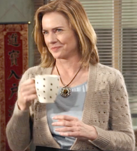 """TFT-CoffeeCup"": As Penny Ingram in The Fortune Theory, relishing a chat about the future of her company."