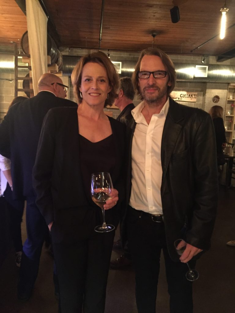 Adrian Hough with Sigourney Weaver, Premiere of '(re)Assignment', TIFF Party